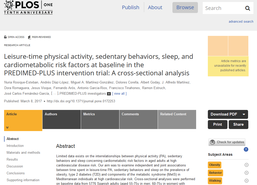 Leisure Time Physical Activity Sedentary Behaviors Sleep And Cardiometabolic Risk Factors At Baseline In The Predimed Plus Intervention Trial A